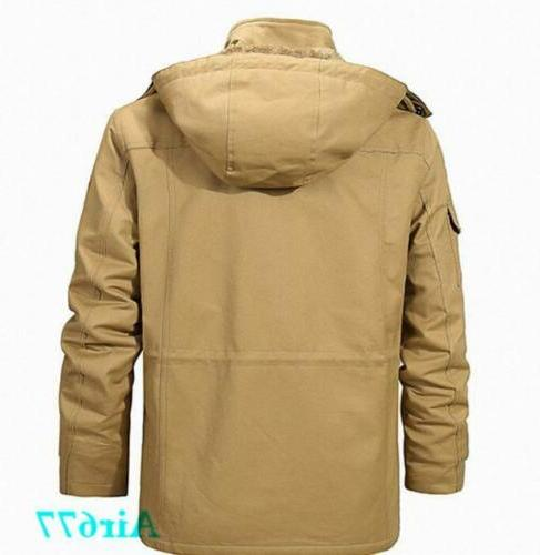 Mens Winter Thick Fur Lined Hooded Warm Coat