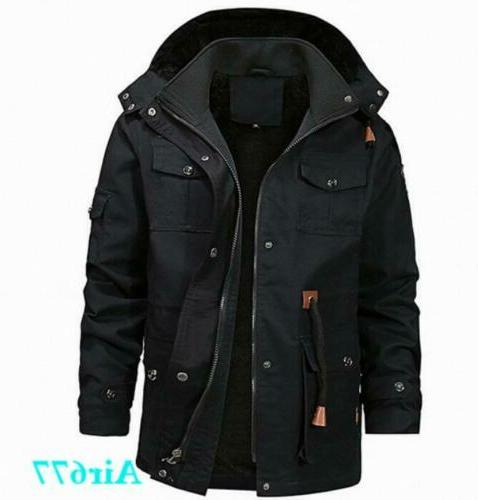 Mens Winter Lined Hooded Warm Military Coat