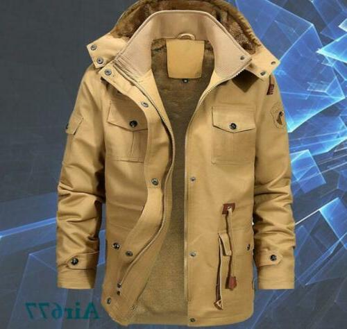 Mens Lined Hooded Warm Military Coat