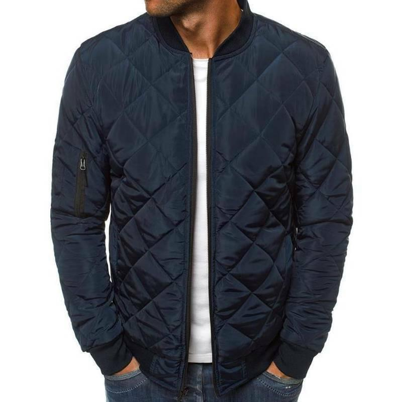 Mens Quilted Coat Bomber Up Outwear