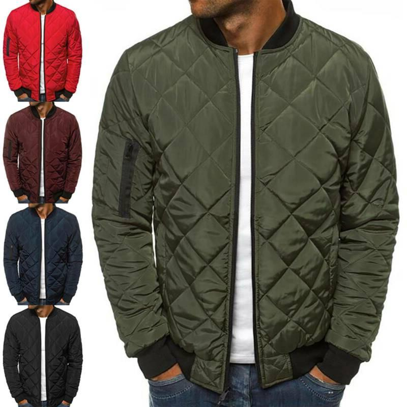 mens winter warm padded quilted puffer coat