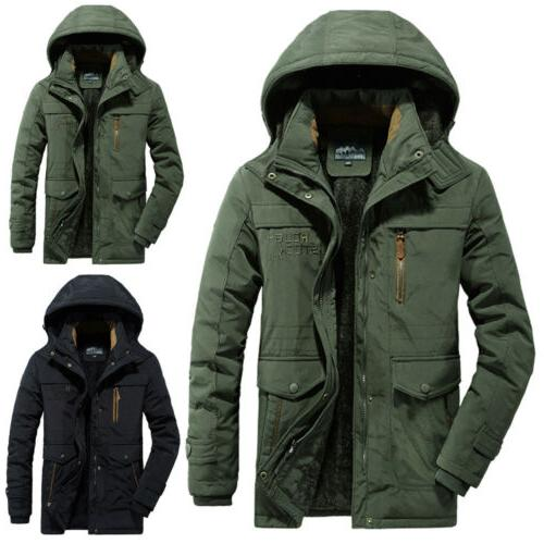 mens winter warm thick fur lined hooded