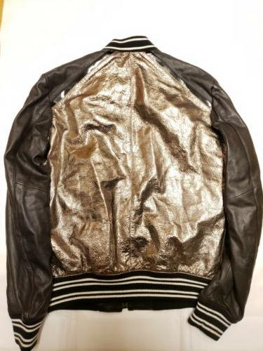 Just Metallic Gold Leather Bomber Size 58