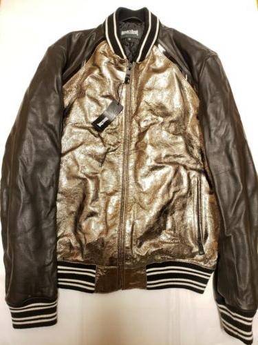 Just Metallic Leather Blend Bomber Size IT