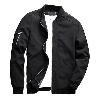 New Men Zipper Casual Work Jacket Fight Bomber Coat Thin Spr