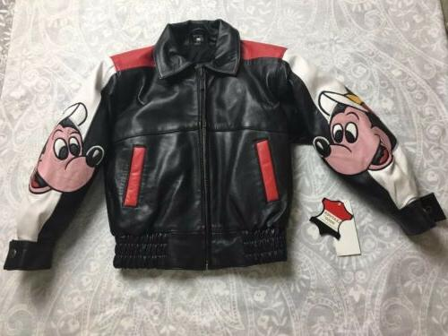 New Sz 4T Leather Bomber Jacket Boys Styled in Italy Made in