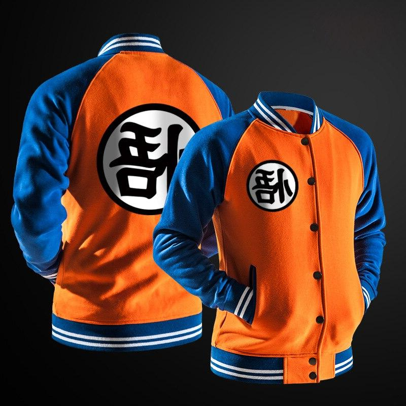New Trend Spring Black Varsity Baseball <font><b>Jacket</b></font> Fashion Ball <font><b>Jacket</b></font> For DBZ