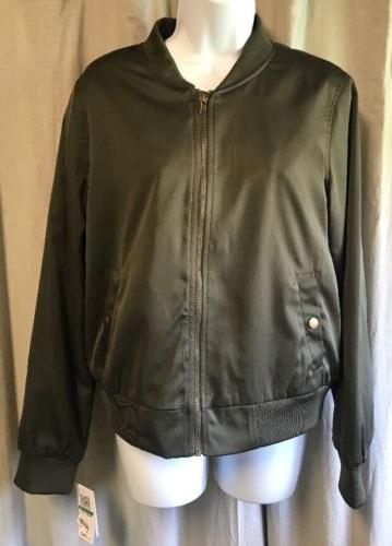 NWT Hippie Rose bomber jacket Olive Army Green Size Large