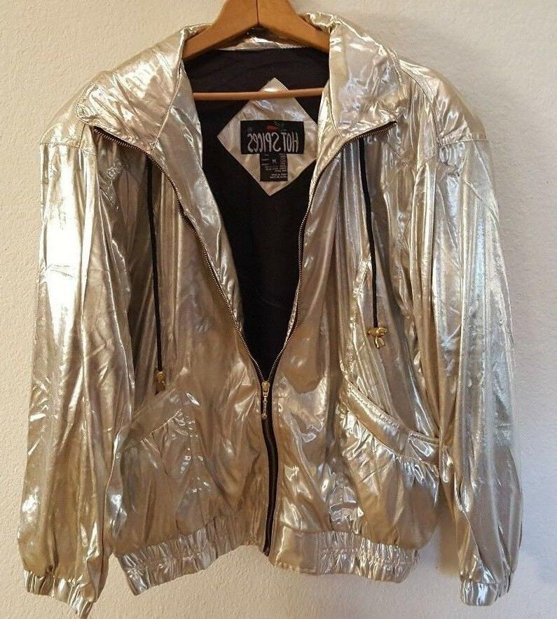 NWT HOT SPICES MEDIUM SILVER JACKET WOMENS