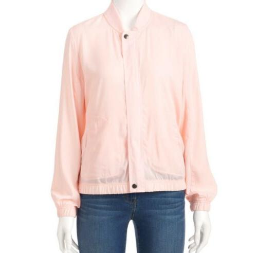 pink satin bomber jacket new xs or