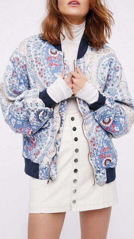 Women's Free People Print Bomber Jacket, Size Small - Blue