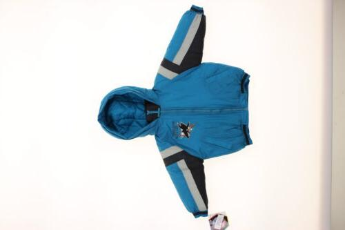 San Jose Sharks NHL Boys Toddlers Full Zip Hooded Bomber Jacket Coat Teal