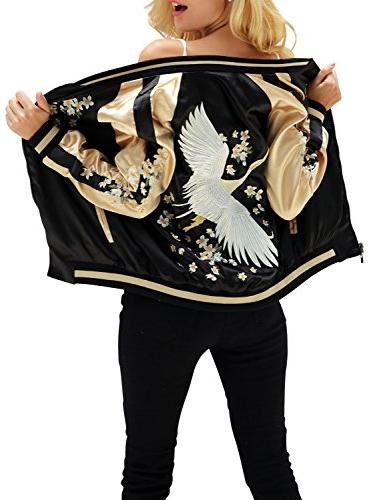 satin embroidered baseball bomber jacket