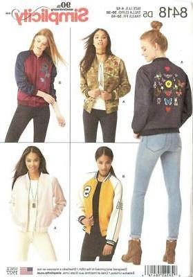 Simplicity Sewing Pattern 8418 Misses Lined Bomber Jacket Ne