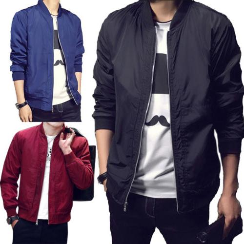 Men's Zipper Casual Jacket Bomber Coat Autumn Baseball Outwe