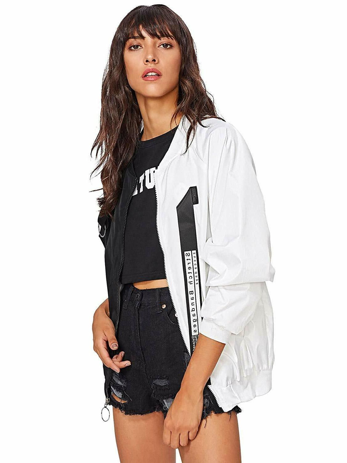 SweatyRocks Color Block Bomber Jacket
