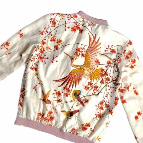 TRF Bomber Jacket Floral w Birds on Cherry Blossom