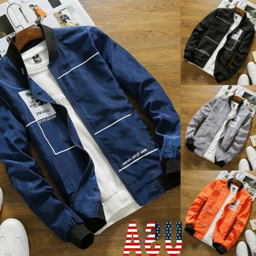 US Men Fashion Retro Classic Slim Paded Bomber Jacket Flight