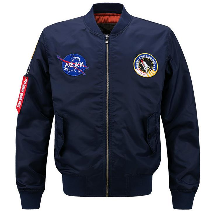 MEN EMBROIDERED NASA JACKET MILITARY ARMY FLIGHT BOMBER JACK