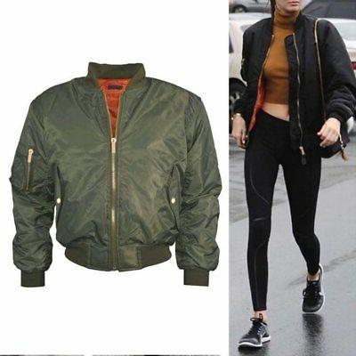 US Women Classic Padded Bomber Vintage Zip Up