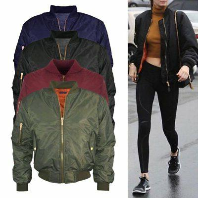 US MA1 Padded Jacket Lady Vintage Zip Up Coat Stylish