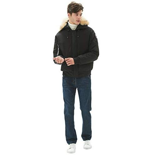 PUREMSX Winter Team Jacket for Men with Hood, Waterproof Extremely Warm Heavy Jacket Down Bomber Jackets