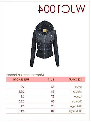 WJC1004 Womens Casual Fleece Bomber Removable Hoodie XS PEACH
