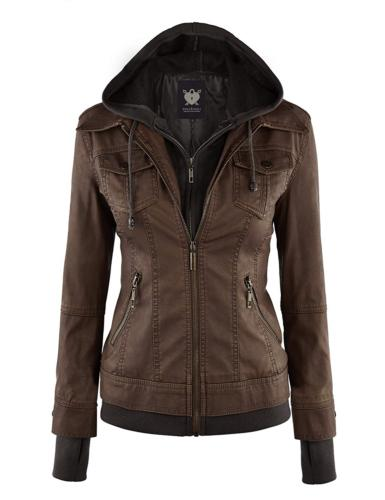 wjc664 womens faux leather jacket with hoodie