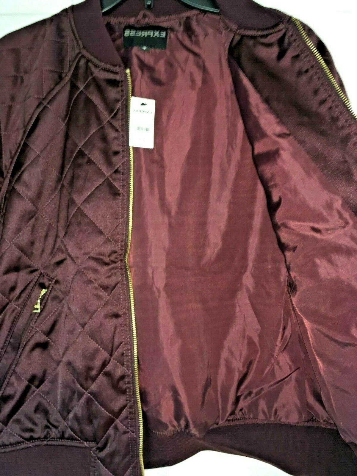 EXPRESS Women Bomber Quilted Pattern Gold NWT