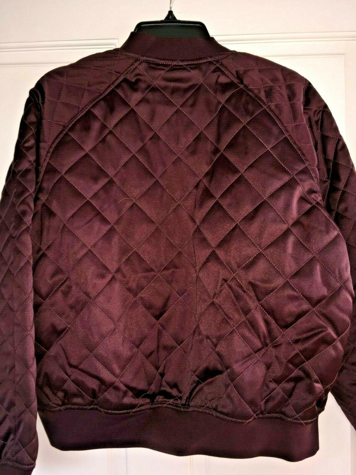 EXPRESS Women Bomber Quilted Diamond Pattern Maroon NWT