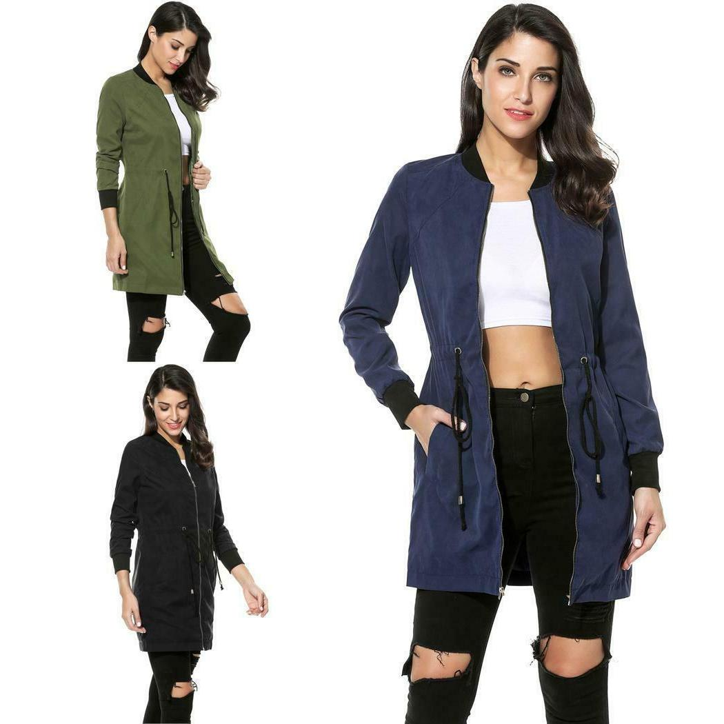 Women Long Solid Zip-up Jacket
