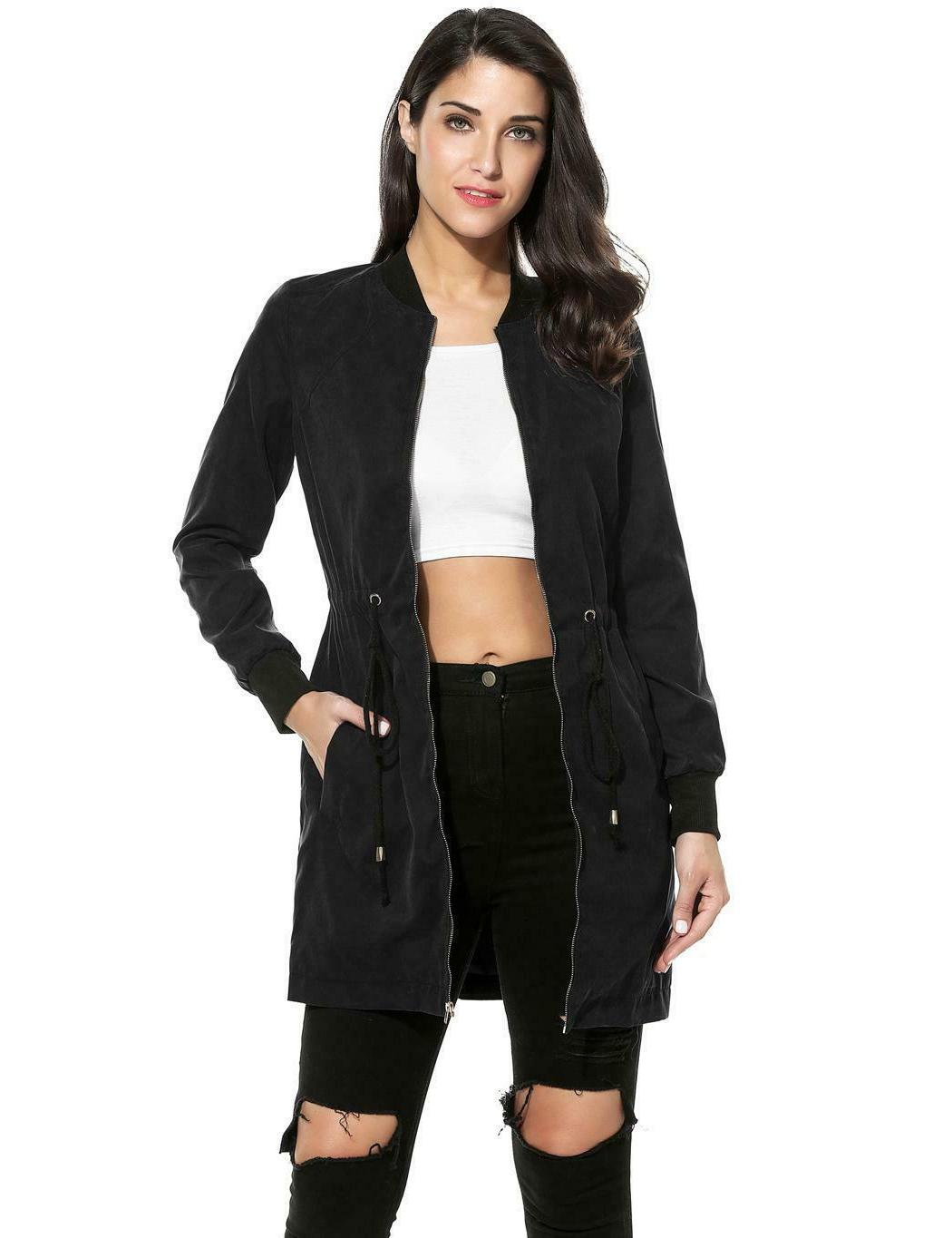 Women Long Sleeve Solid Zip-up Jacket LKR8