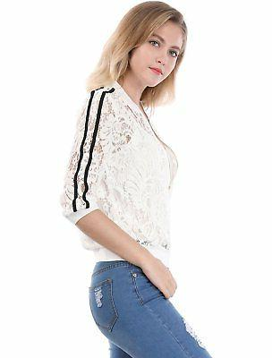 Allegra Women's Contrast Striped Zip up Lace Bomber Jacket S White