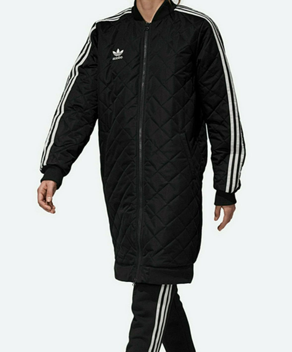 women s long quilted bomber jacket black