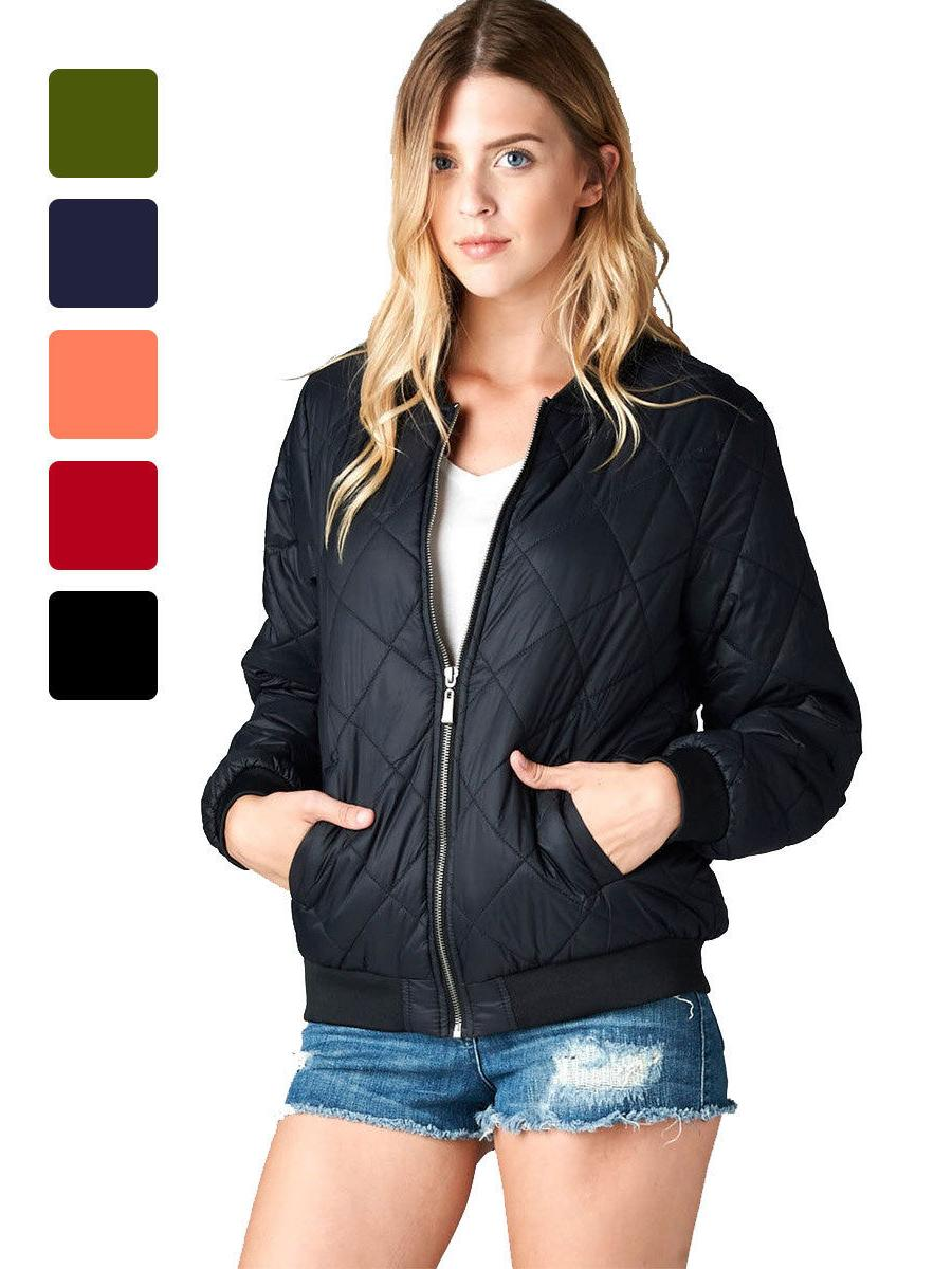 Women's Quilted Bomber Jacket Coat Padded Classic Pattern Zi