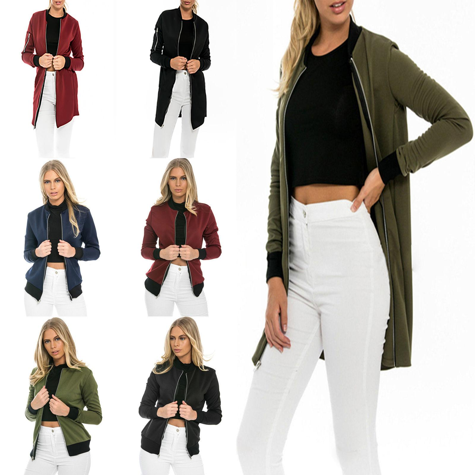 Women Up Bomber Jacket Flight Coat Long Sleeve Vintage