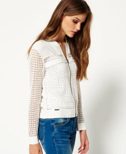 Womens Superdry Analee Lacy Bomber Jacket Nordic White