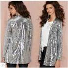 HaoDuoYi Womens Casual Silver Sequins Pocket Side Coat Jacke