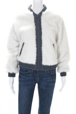 womens long sleeve denim and faux fur