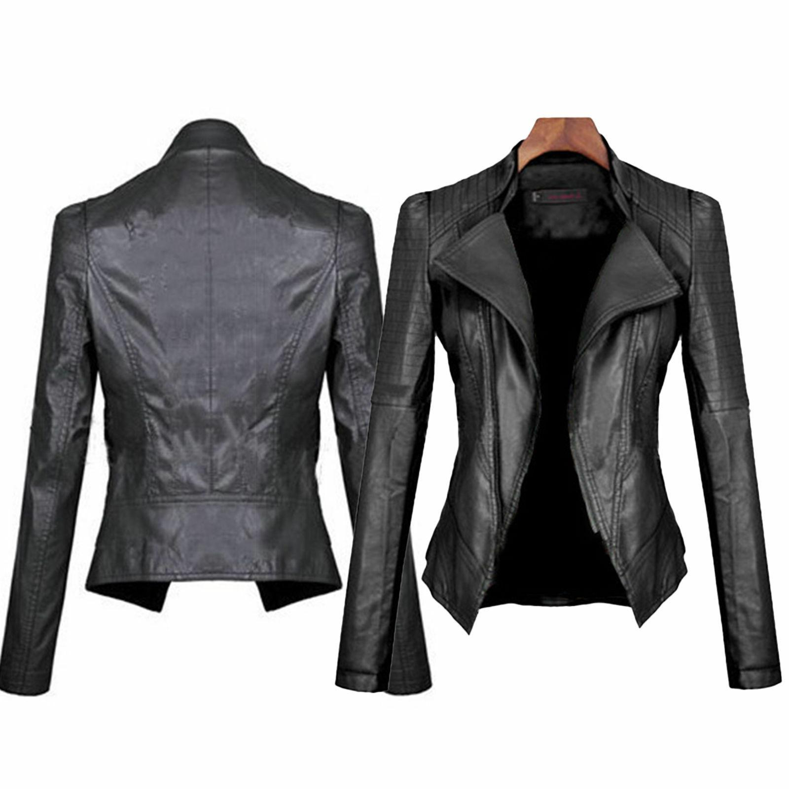 Womens Slim Fit Bomber Biker Motorcycle Jacket Coat PU Leath