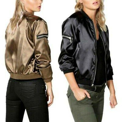womens solid satin bomber jacket long sleeve