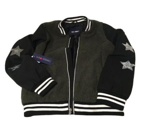 wool and sherpa bomber jacket with star