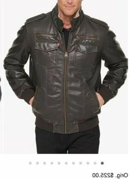 Levi's Men's Faux-Leather Aviator Bomber Jacket with Fleece