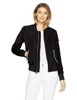Levi's Women's Poly Bomber Jacket with Contrast Zipper, Blac