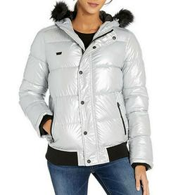 Levi's Womens Quilted Hooded Snorkel Bomber Jacket Water Res