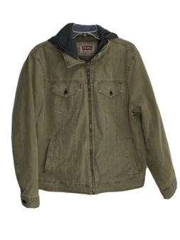 Levis Mens Quilted Insulated khaki Denim Jacket Size Large H