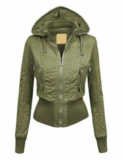 LL Womens Casual Inner Fleece Bomber Jacket with Removable H
