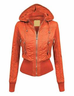 Lock and Love LL Womens Casual Inner Fleece Bomber Jacket wi