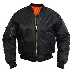 MA-1 Flight Jacket, Black, Pilot Jacket, Large