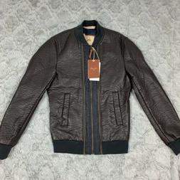ZARA MAN BROWN FAUX LEATHER BOMBER JACKET SLIM FIT SIZE S NW